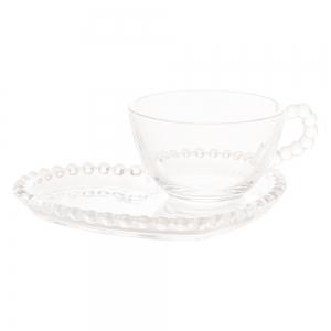 Xícara de chá 180ml c/ Prato Coração Pearl - Wolff