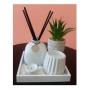 Kit Aromatizador Zen Decorativo Cerâmica e Madeira Branco - Lyor