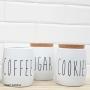 Lata Metal c/ Tampa Cortiça Coffee Branco Oak - Yoi