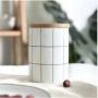 Pote Cerâmica c/ Tampa Bambu Turim Branco 10x12cm - Lyor