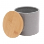 Pote Cerâmica Granilite c/ Tampa Bambu Cinza 10x10cm - Lyor