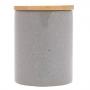 Pote Cerâmica Granilite c/ Tampa Bambu Cinza 10x13cm - Lyor