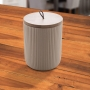 Pote Cerâmica c/ Tampa Bambu Bege 10x15cm - Lyor