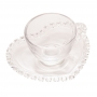 Xícara Café de Cristal com Pires Coração Pearl 80ML - Wolff