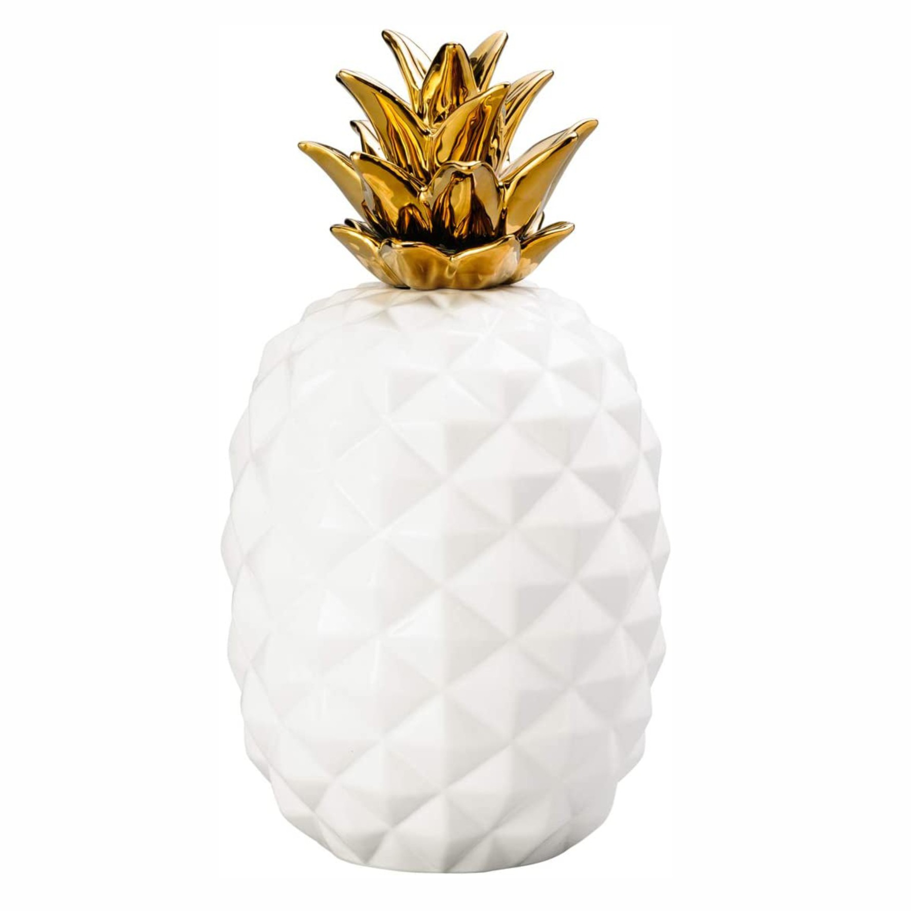 Abacaxi Decorativo De Cerâmica Com Dourado - Lyor