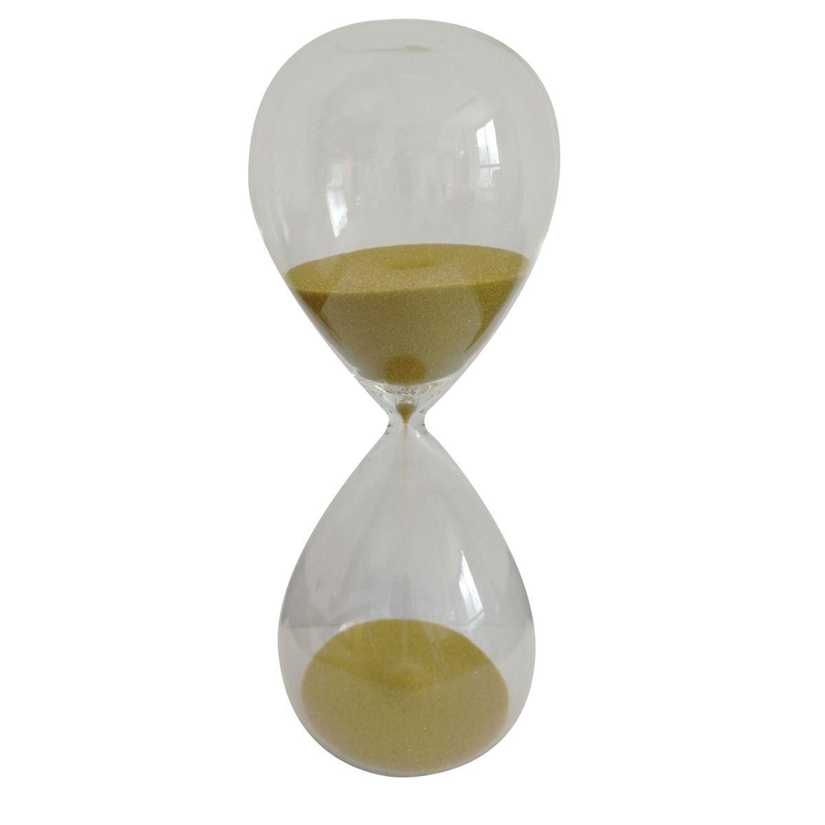 AMPULHETA VIDRO CLEAR GLASS DOURADO 20 MIN 6,5X6,5X17CM - URBAN 42743
