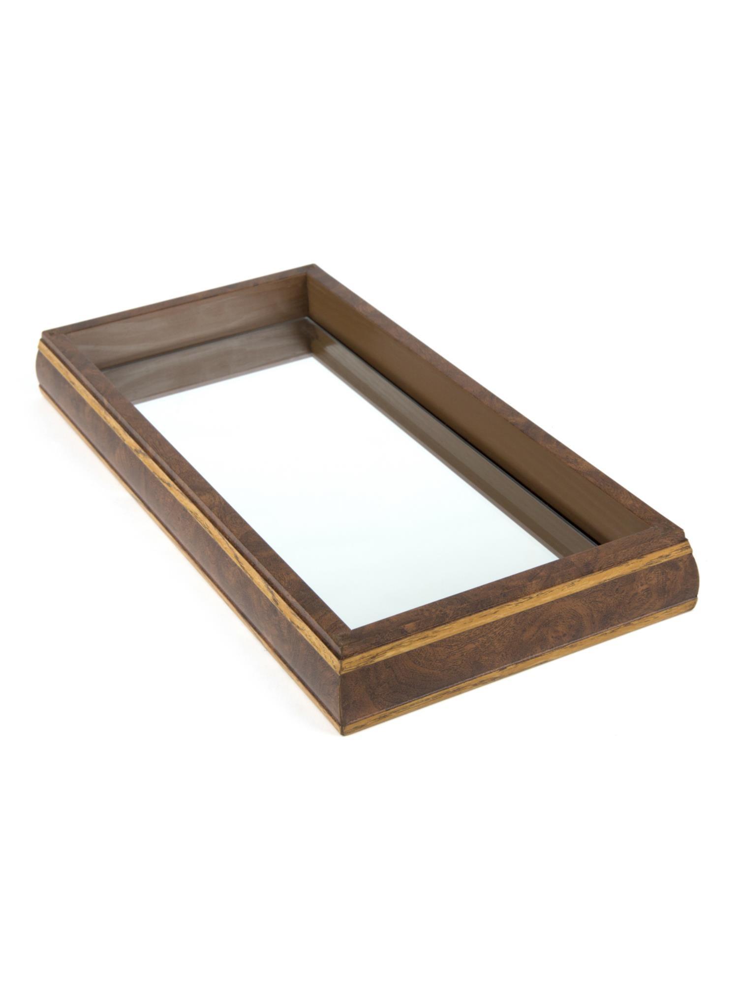 Bandeja de Madeira com Espelho 37x27x4cm - ROJEMAC