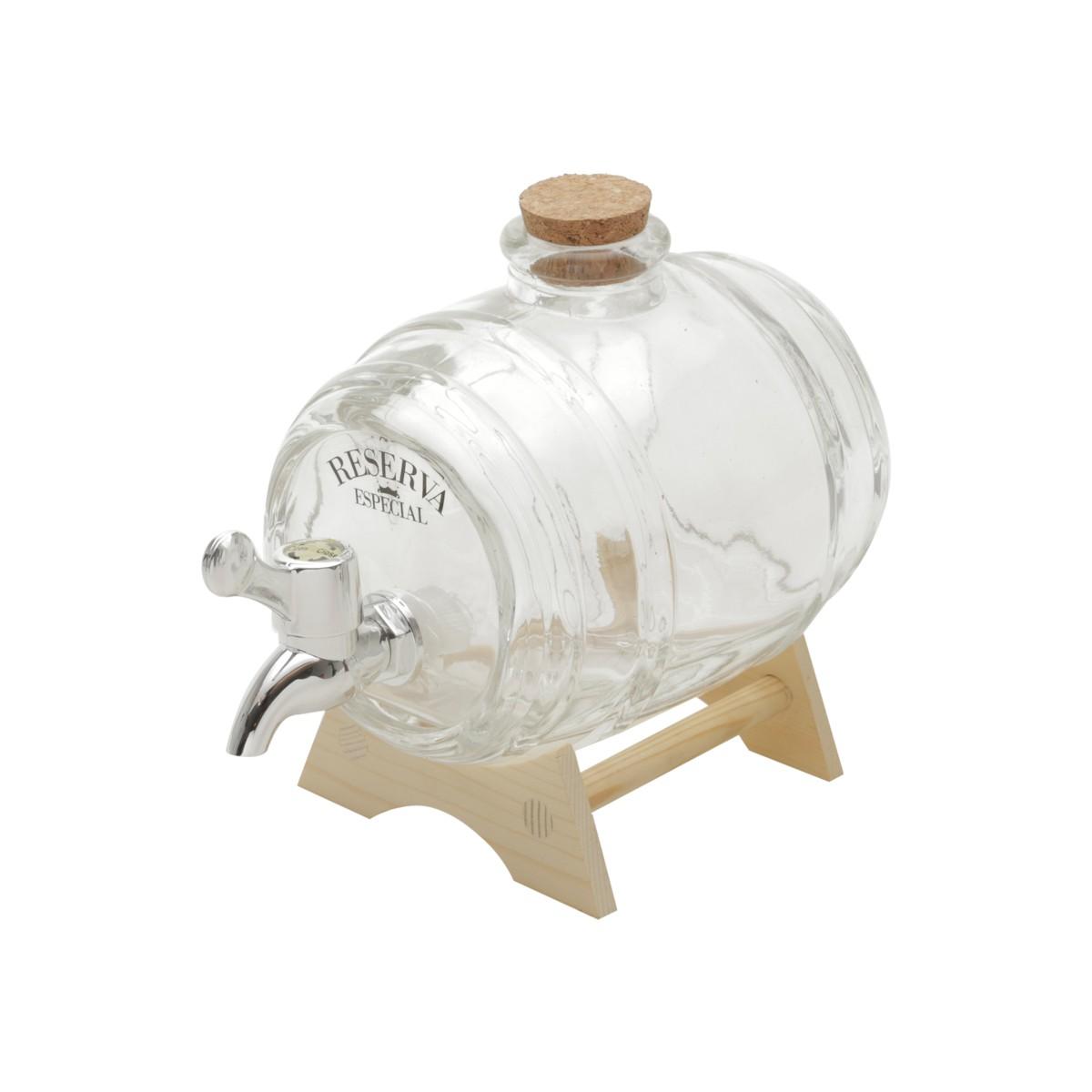 Barril De Vidro Transparente P/Cachaça 1 Litro - Rojemac