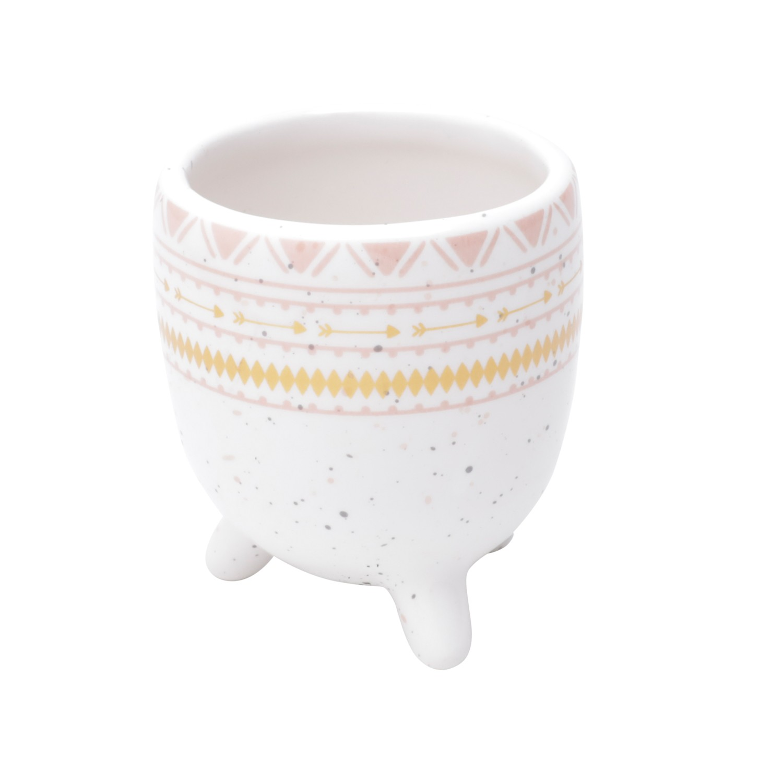 Cachepot de Cerâmica com Ethinics Lines Branco 6cm - Urban