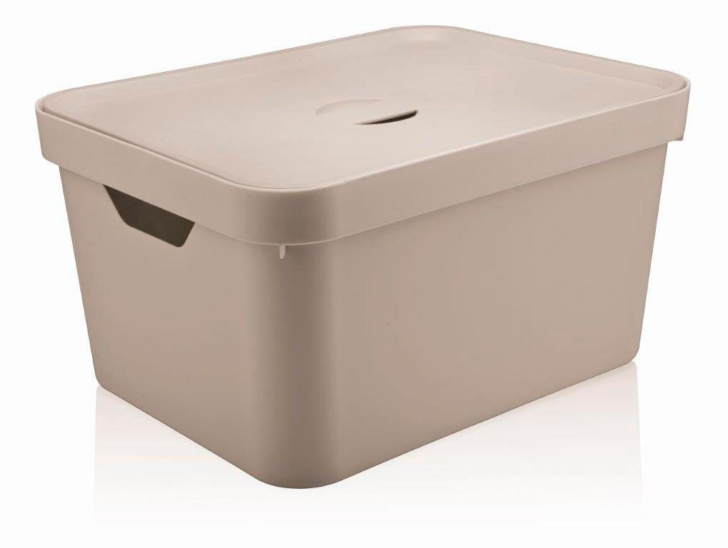 Caixa Organizadora Cube G Com Tampa 32L Bege - Ou