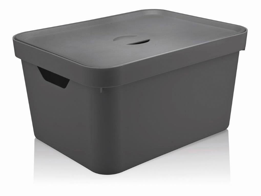 Caixa Organizadora Cube G Com Tampa 32L Chumbo - Ou