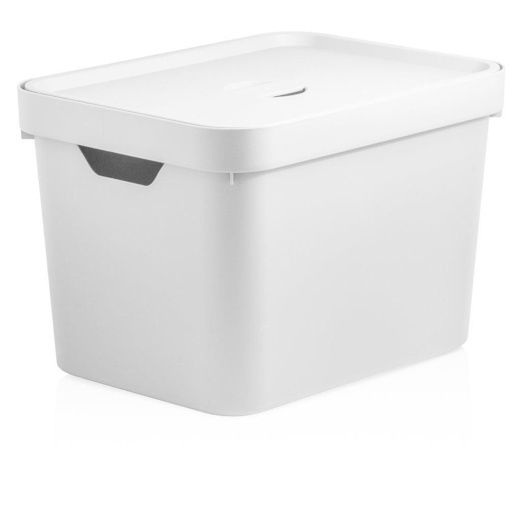 Caixa Organizadora Cube M 18 L Com Tampa Branco - Ou