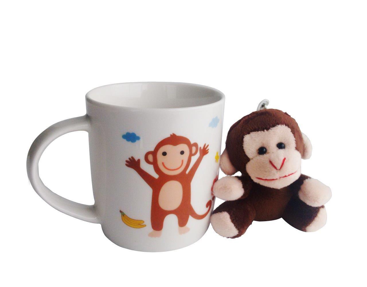 Caneca De Porcelana Com Adereço Macaco 325Ml - Rojemac