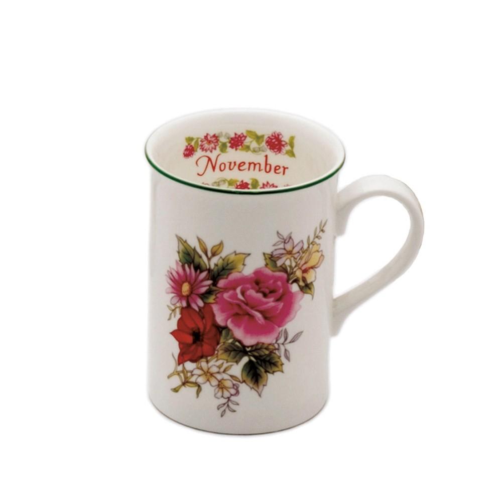 Caneca Porcelana Bone Chine  Flores Mês Novembro 350ml - Mcd