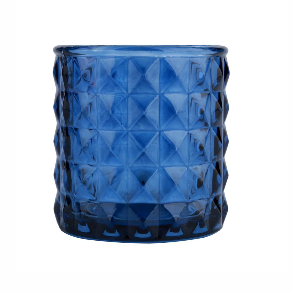 Castiçal De Vidro Com Losangos Em Relevo Azul - Urban