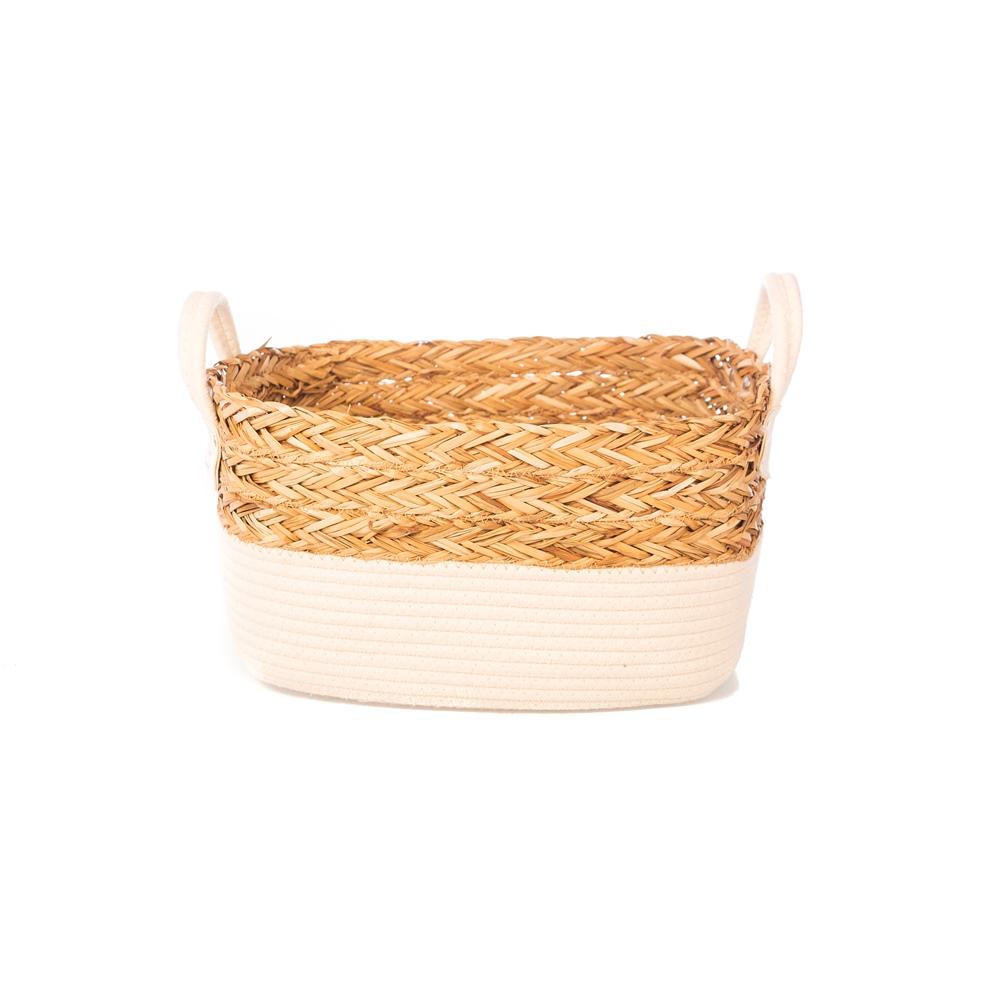 Cesto c/ Alça de Algodão 35x26 Seagrass - Yoi