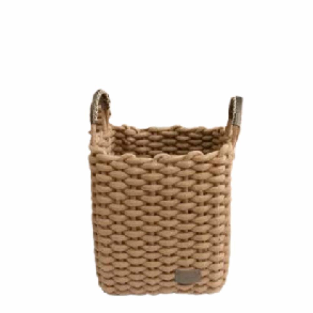 Cesto Corbata Retangular com Alça Caramelo 30x22x28 - Yoi