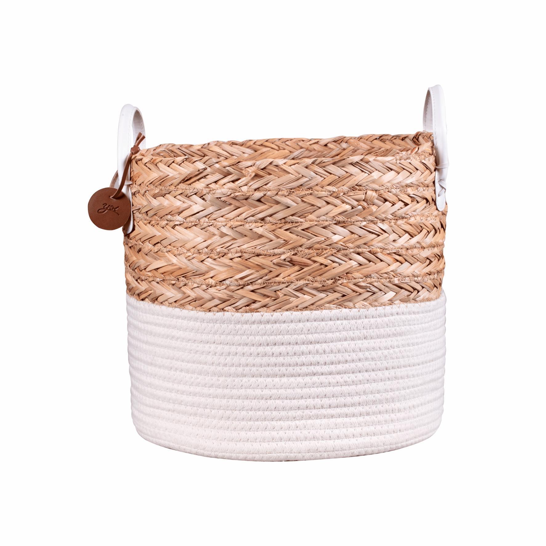 Cesto de Corda Seagrass com Algodão 27cm P – Yoi