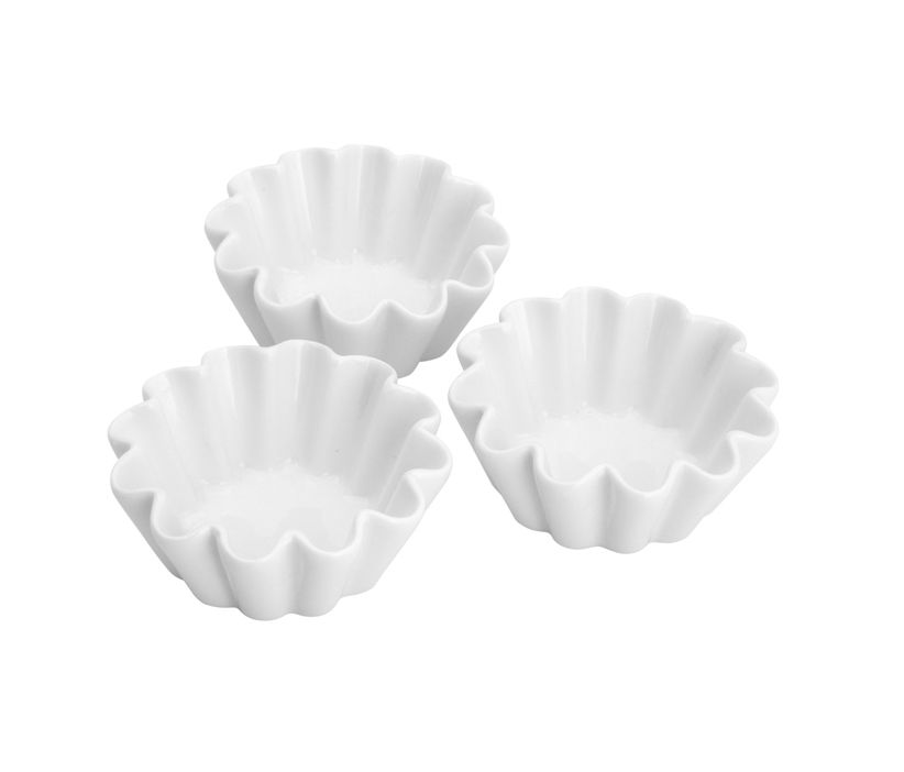 Conjunto 3 Petisqueiras De Cerâmica Waves Branca 9X3,5Cm - Lyor