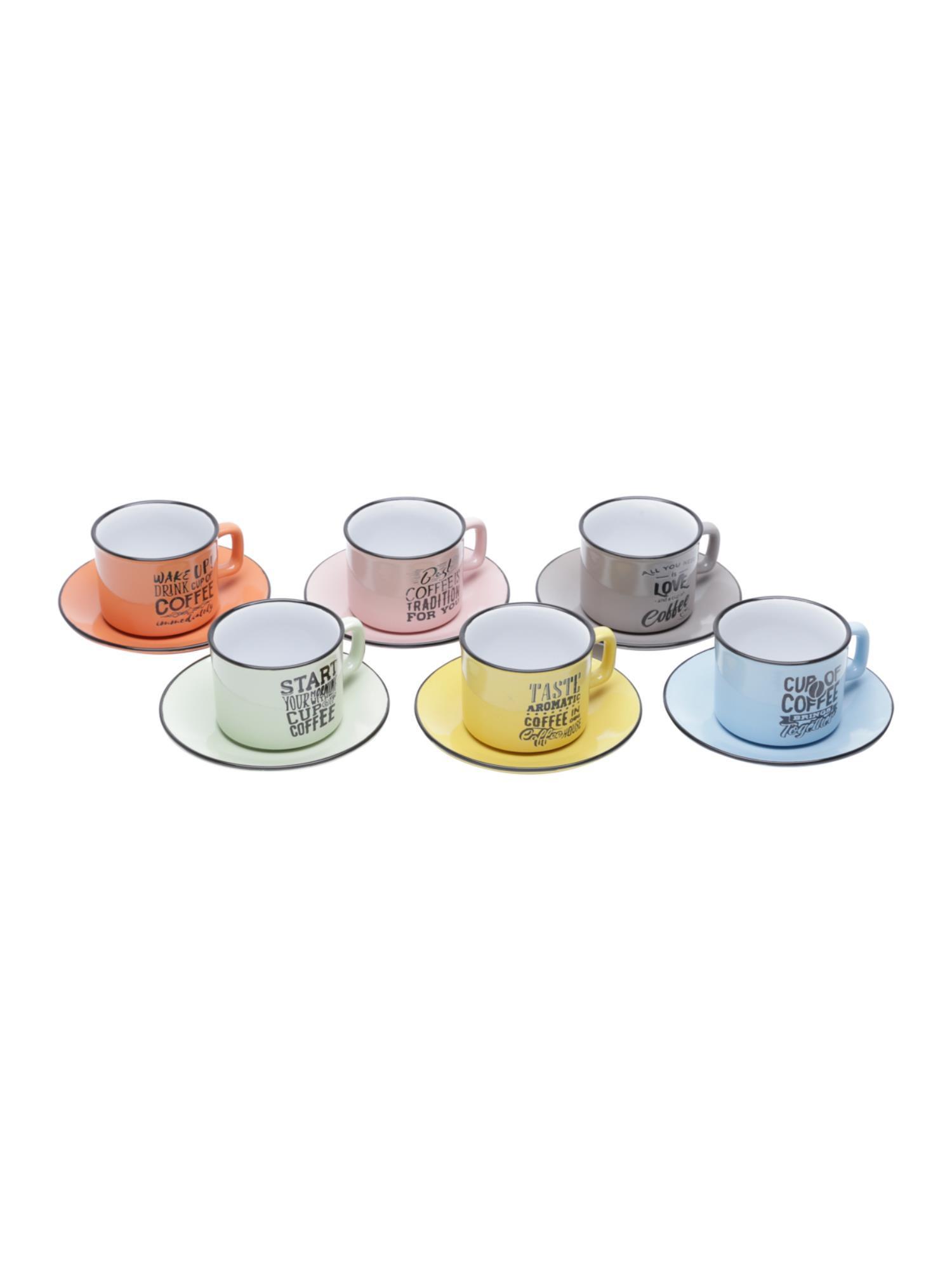 Conjunto com 6 Xícaras Coloridas em Porcelana
