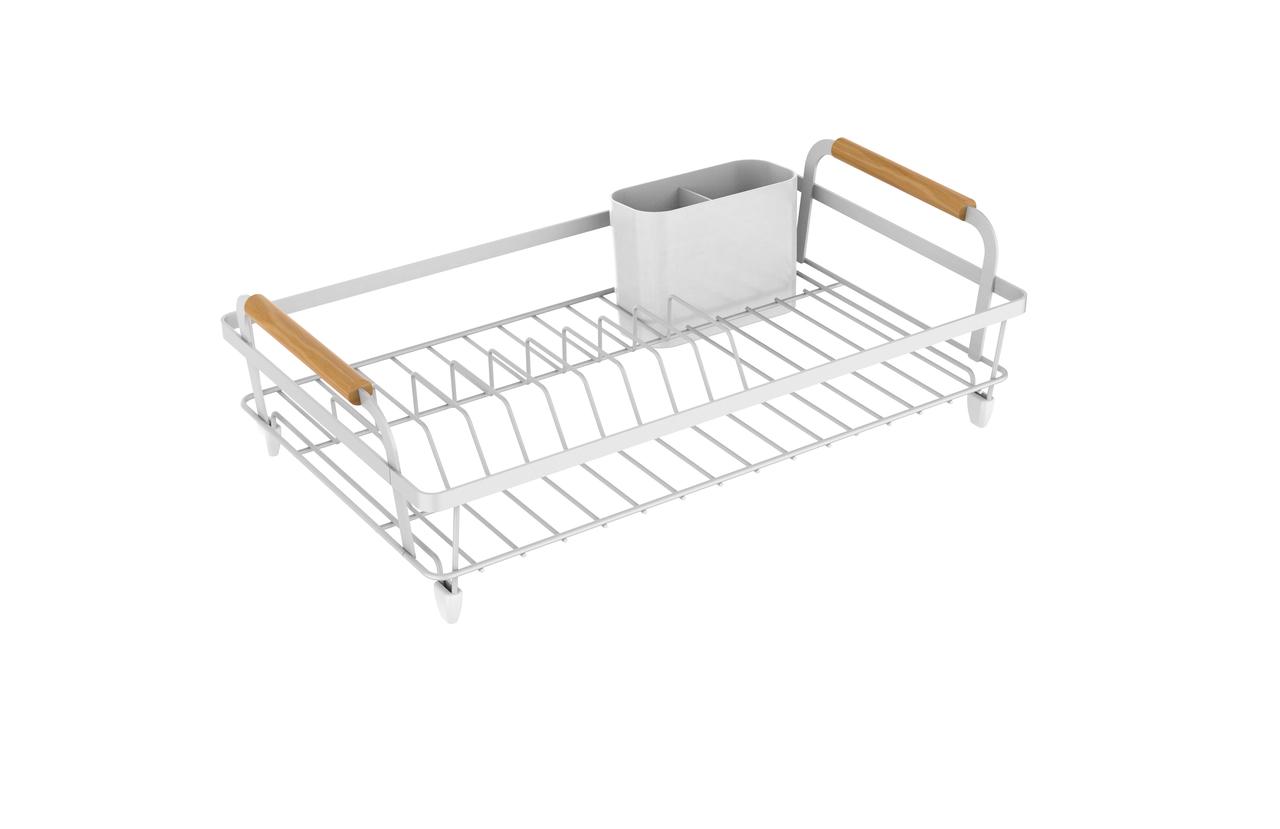 Escorredor de Louças Aço e Madeira Metalla Branco 42cm - Yoi