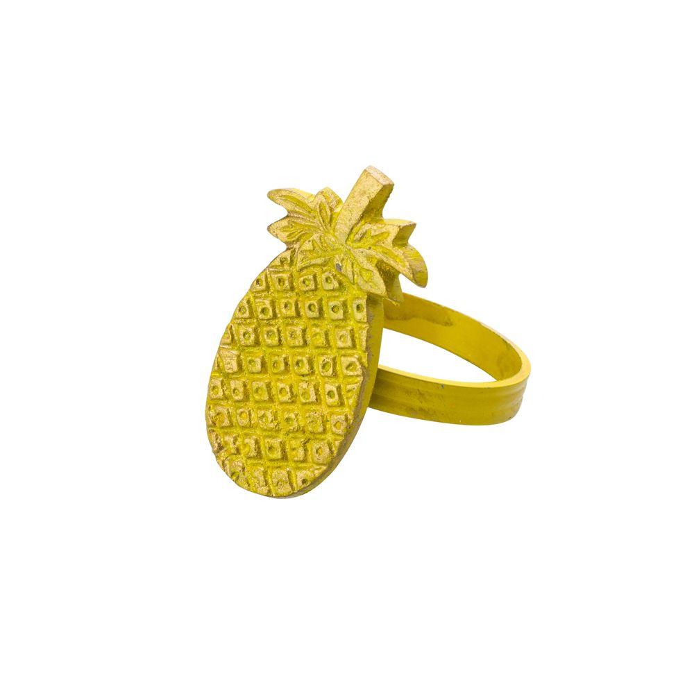 Jogo 4 Anéis Para Guardanapos De Latao Abacaxi Amarelo - Lyor