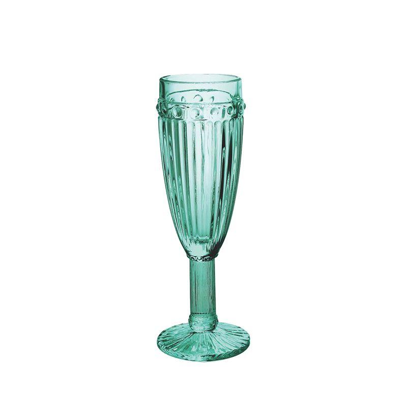 Conjunto 6 Taças Empire Champagne De Vidro Azul Tiffany 170Ml - Lyor