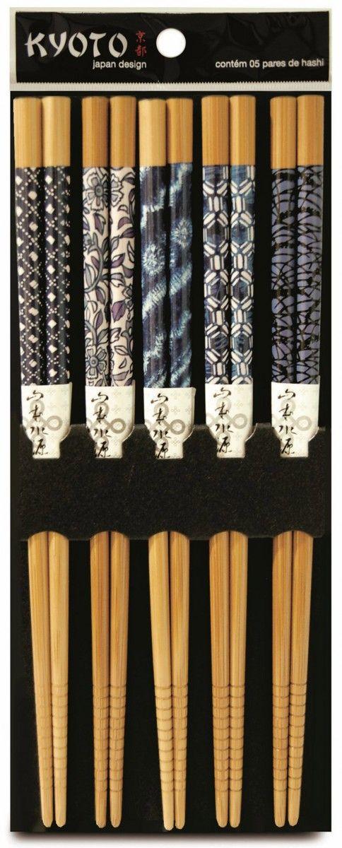 KIT HASHI 5 PARES BAMBU GEOMETRIC KYOTO - YOI 8108010006