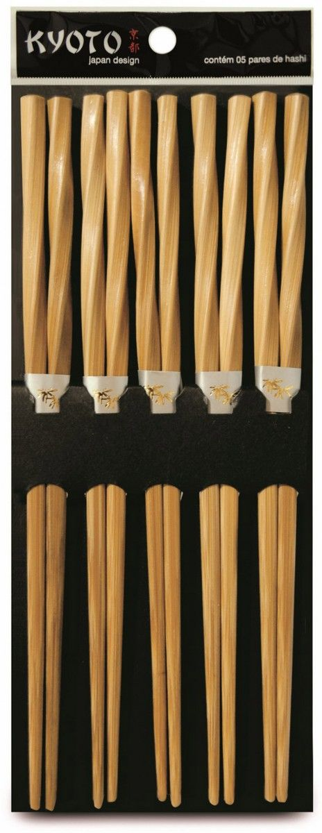 KIT HASHI 5 PARES BAMBU NATURAL KYOTO