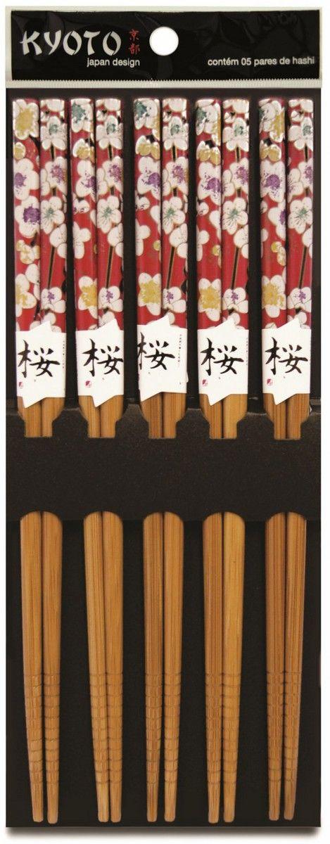 KIT HASHI 5 PARES BAMBU RED FLORAL KYOTO