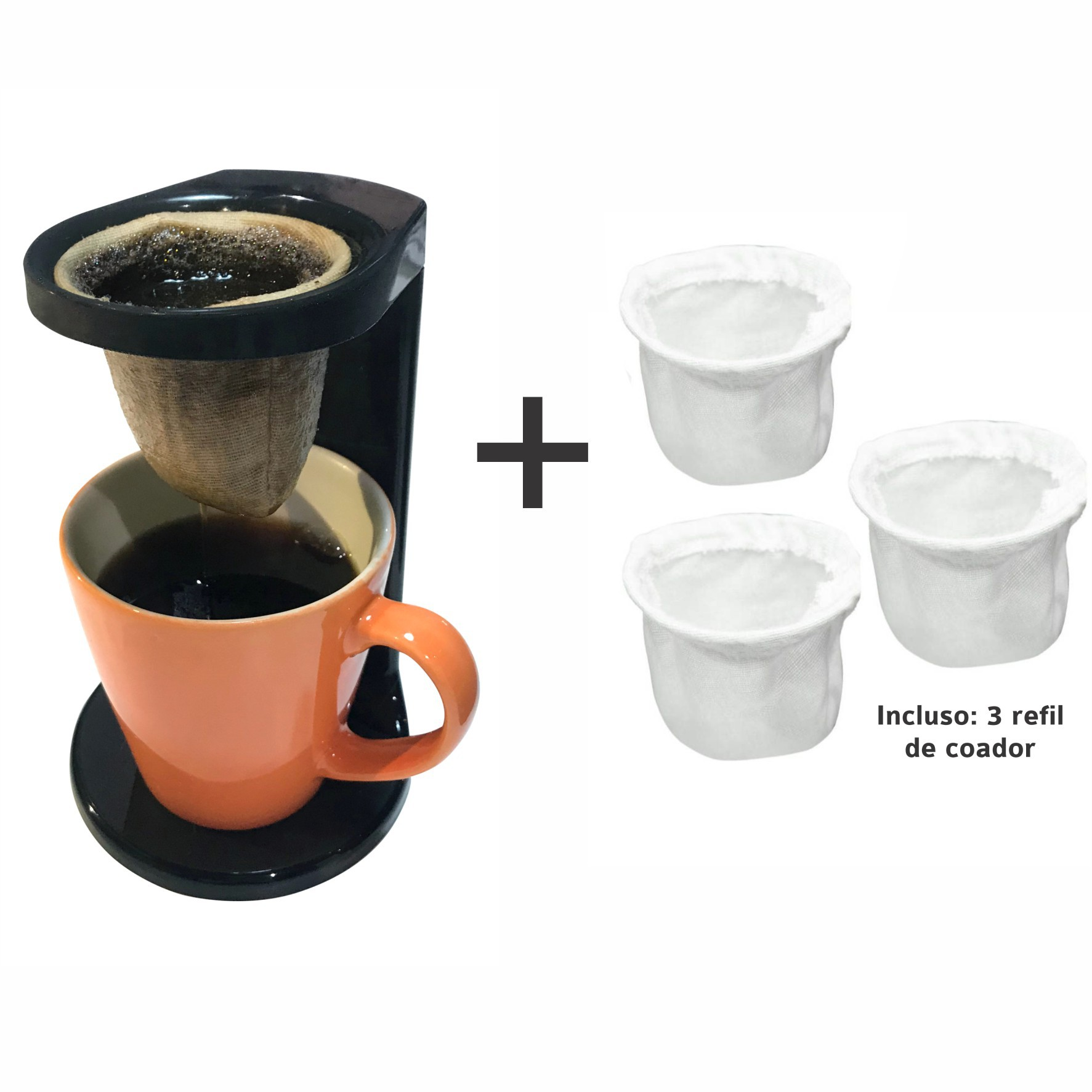 Kit Passador Café com Caneca Colorida 330ml - OU