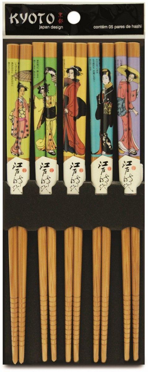 Kit Hashi 5 Pares Bambu Modern Gueixas - Kyoto