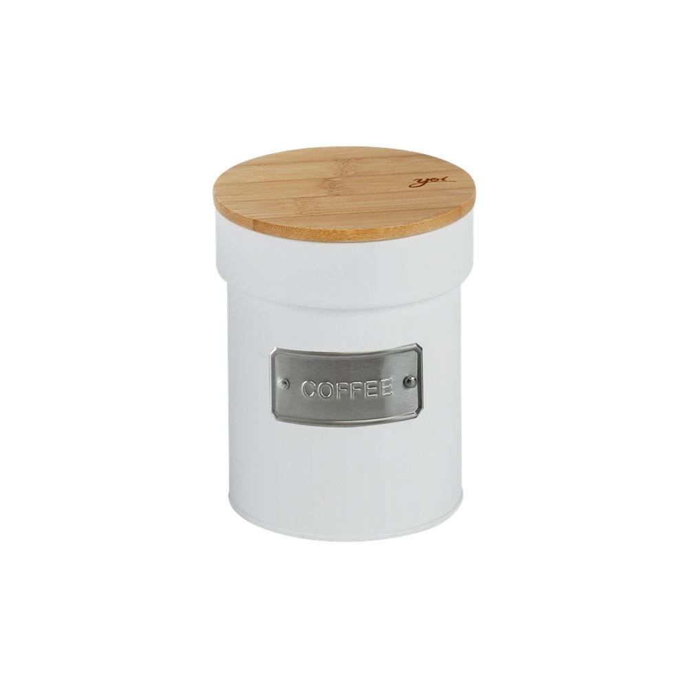 Lata de Metal c/ Tampa Bambu Coffee Branco Matte - Yoi