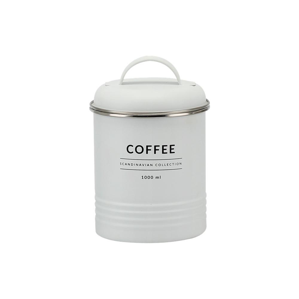 Lata de Metal c/ Tampa Coffee Branco Copenhag - Yoi