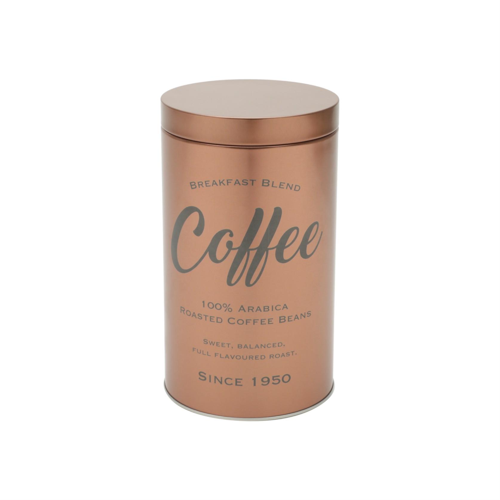 LATA METAL EXPRESSO ROUND COFFEE BEANS COBRE 10,8X18,8CM - URBAN 42913
