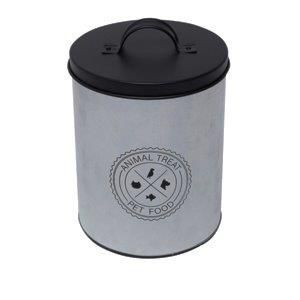LATA METAL ROUND ANIMAL CARE PRATA E PRETO - URBAN 44177