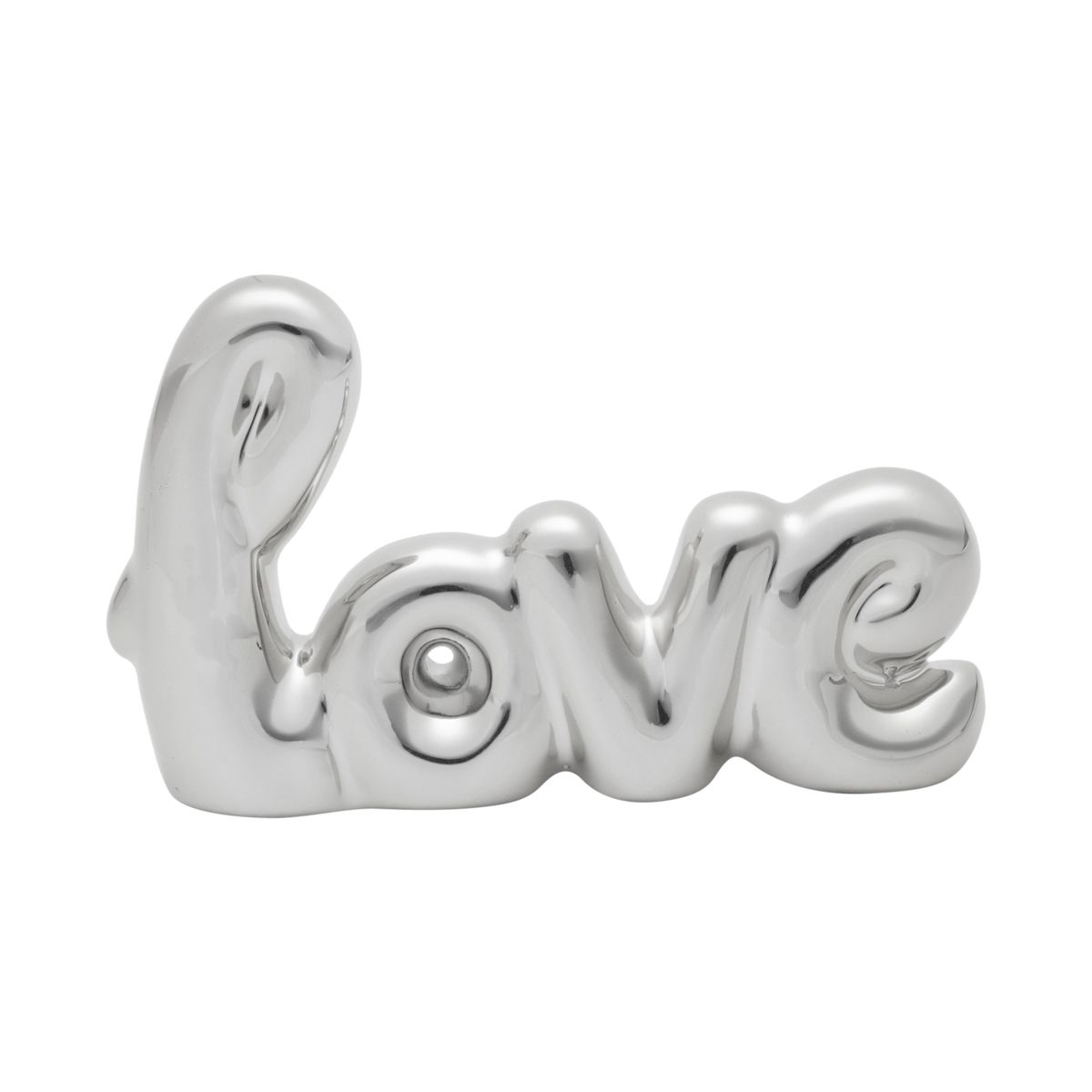 LETRAS DECORATIVAS CERÂMICA LOVE HANDWRITING PRATA 12,5X1,5X8 CM - URBAN 42846