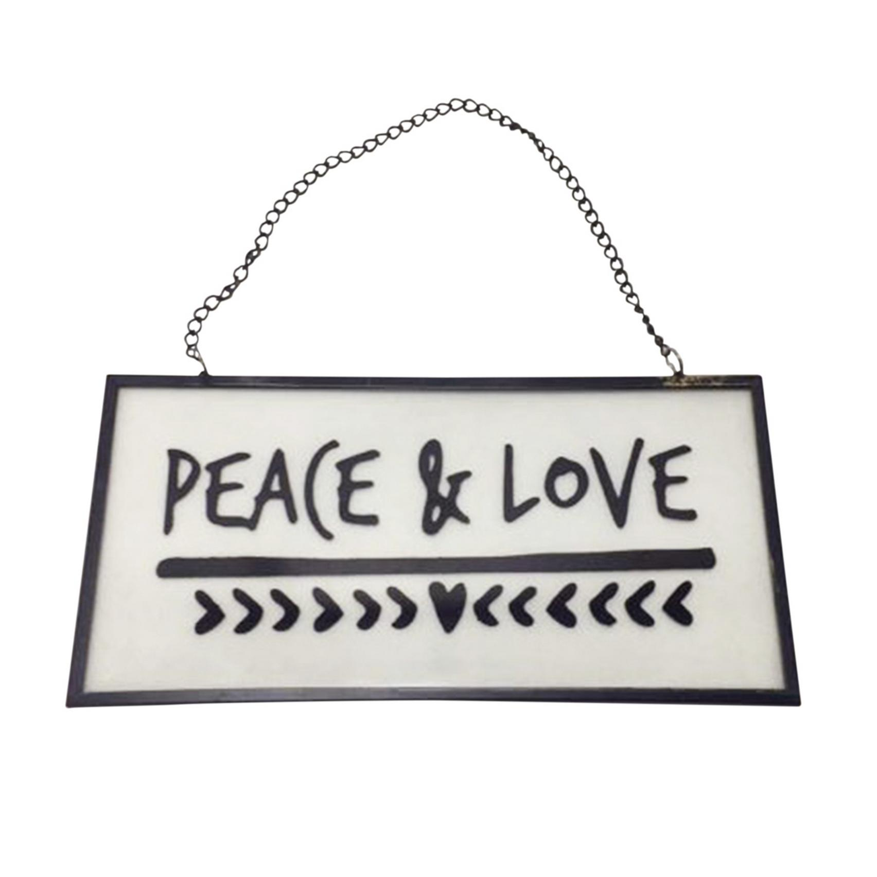 Placa Vidro/Metal Peace And Love Preta 20 X 10 X 0,5 Cm - Urban