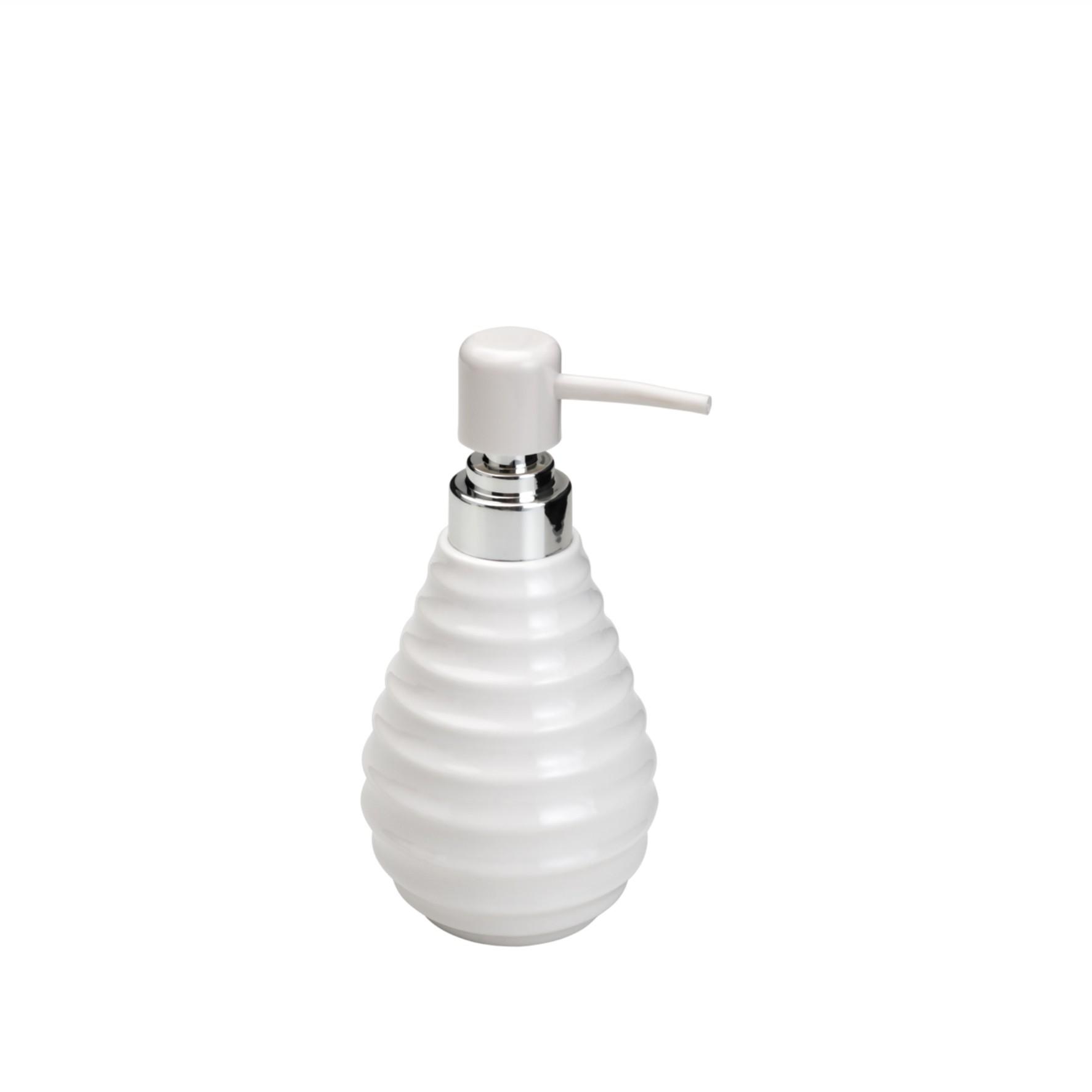 Porta Sabonete Líquido de Cerâmica Prestige 300ml Branco - Rojemac