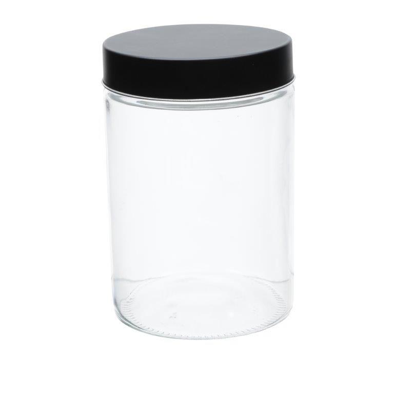 POTE DE VIDRO BOROSSILICATO CLEAN GLASS ROUND PRETO/TRANSPARENTE GRANDE - URBAN 43727