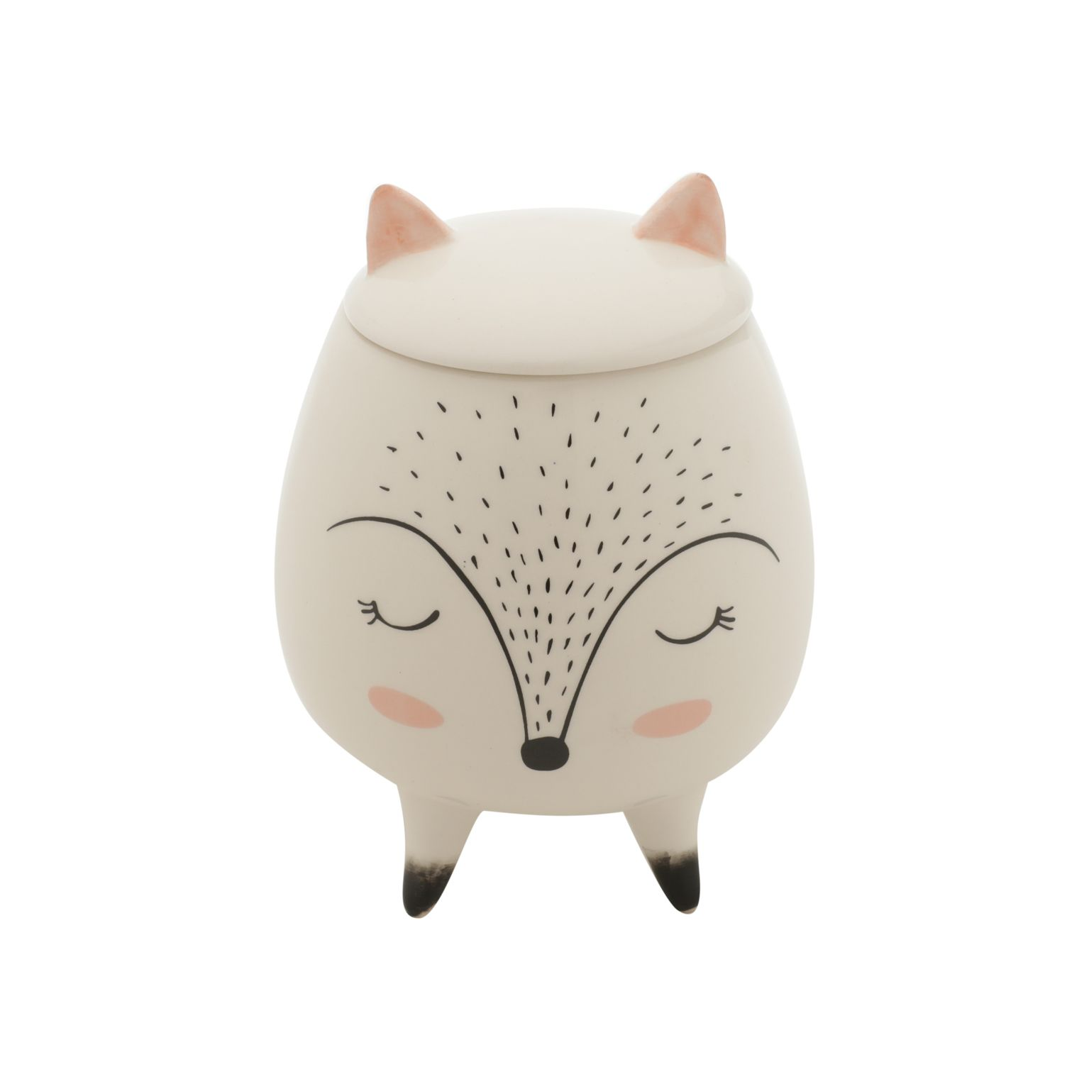Potiche Decorativo Cerâmica Sleeping Fox Branco 10,4X10,4X14 Cm - Urban