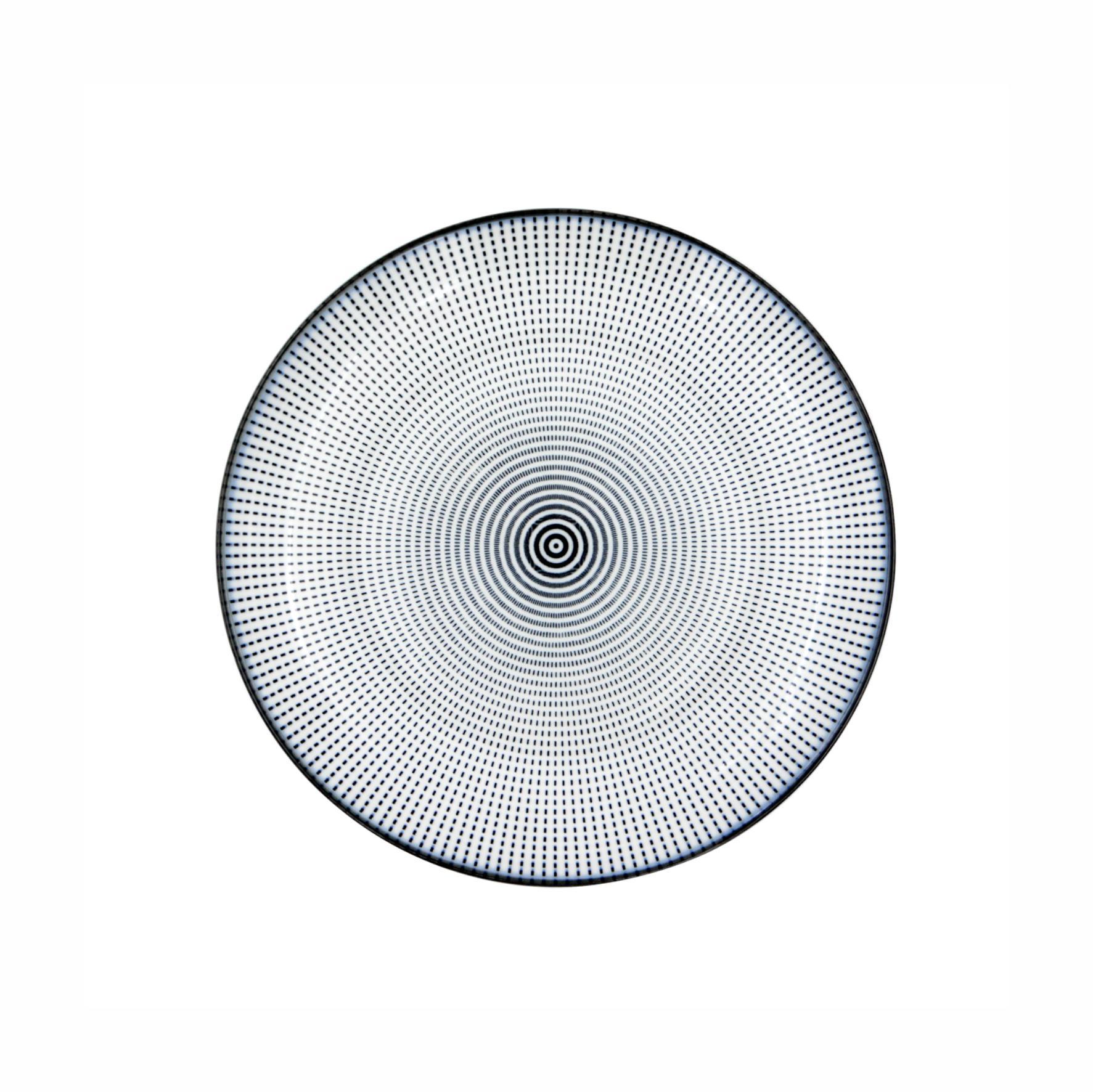Prato Porcelana Decor Dot Angles Preto e Branco 19,5cm - Urban