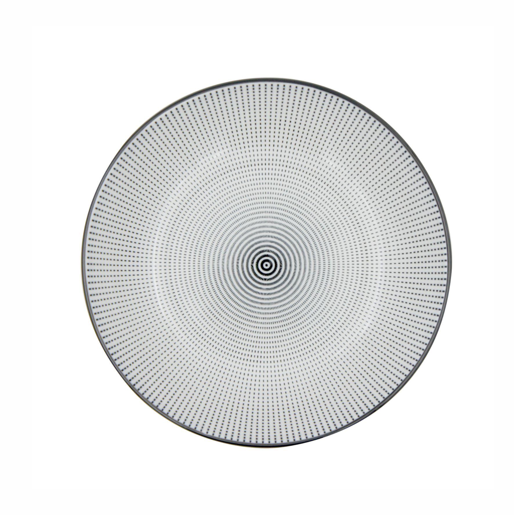 Prato Porcelana Decor Dot Angles Preto e Branco 20,4cm - Urban