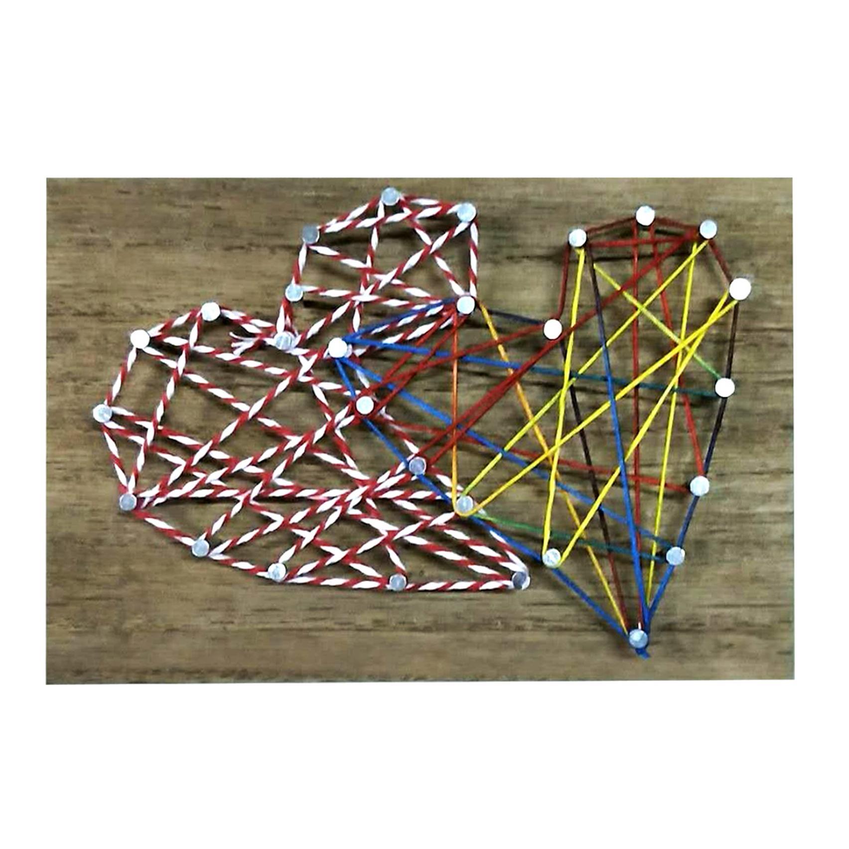Quadro Madeira String Art Dois Coracoes Colorido 14X0.9X9.5Cm  - Urban