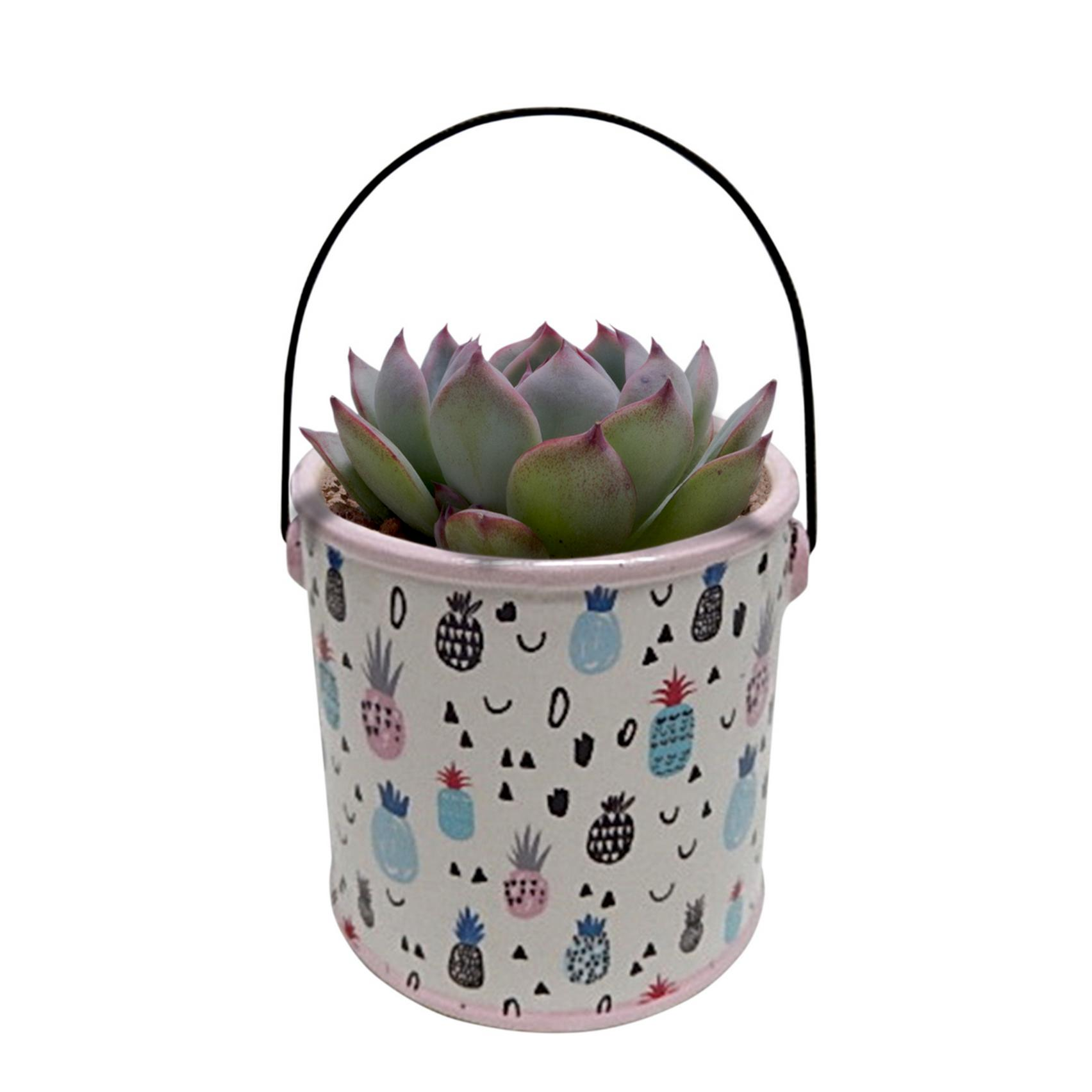 Vaso Cerâmica Drawn Pineapple Can Fd Branco 12,5 X 12 X 12 Cm - Urban