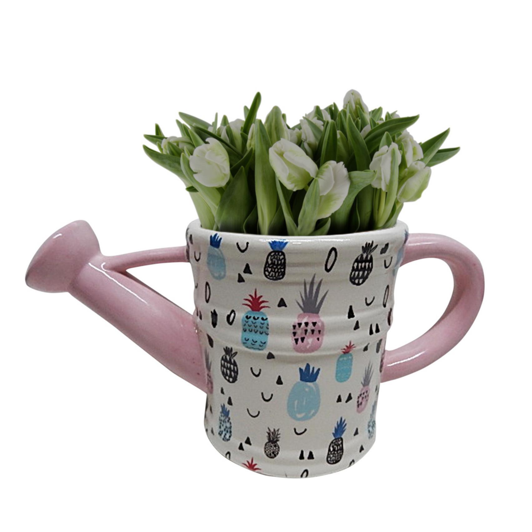 Vaso Cerâmica Drawn Pineapple Watering Can Fd Branco 28 X 12,5 X 14 Cm - Urban