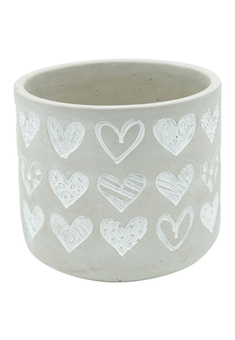 VASO CONCRETO EMBOSSED BIG HEARTS CINZA GDE 14X14X12,5cm  - URBAN