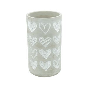 VASO CONCRETO EMBOSSED BIG HEARTS LONG CINZA GDE 12,5X12,5X22cm   - URBAN