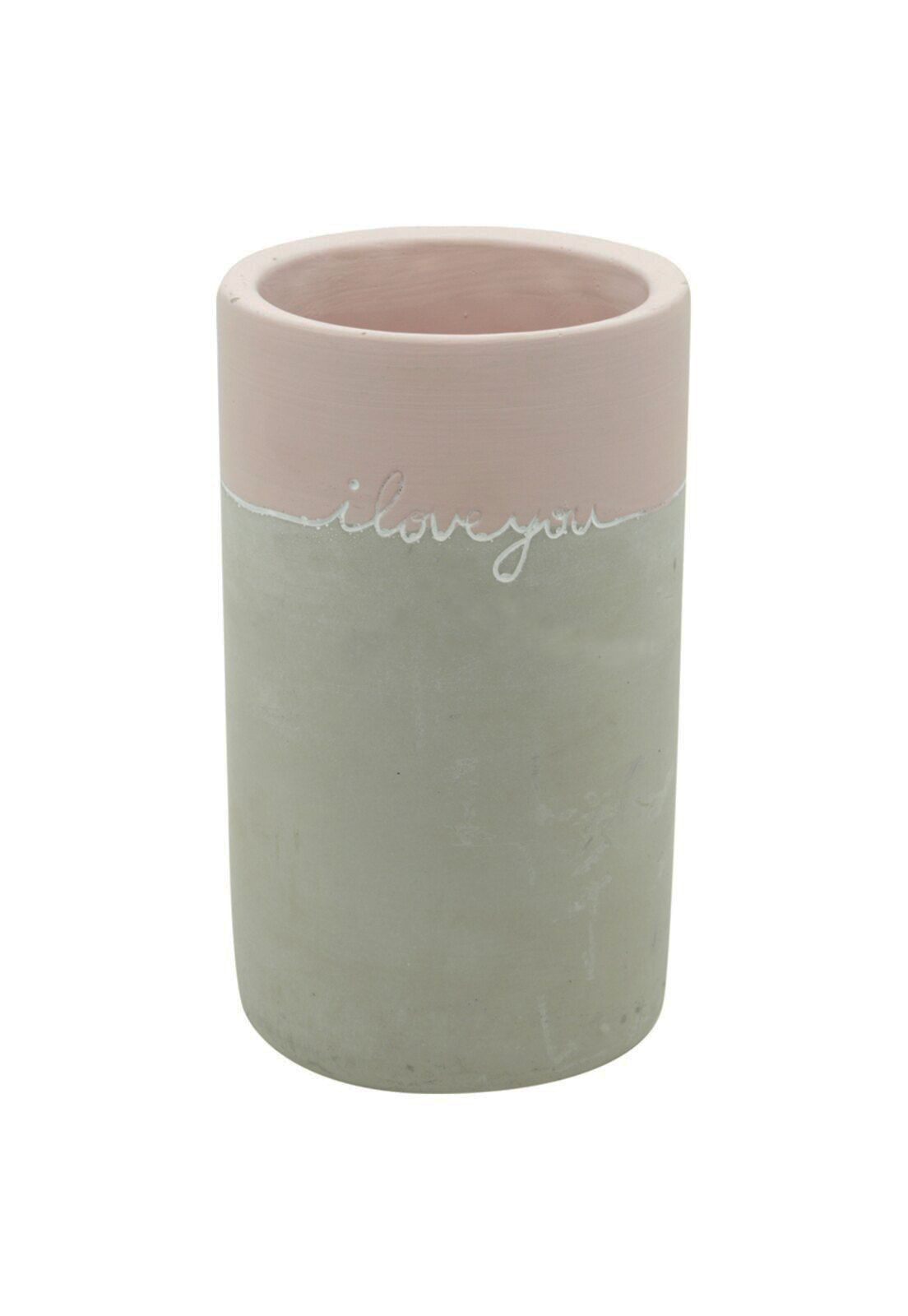 VASO CONCRETO I LOVE YOU LONG ROSA/CINZA 11X11X19cm  - URBAN