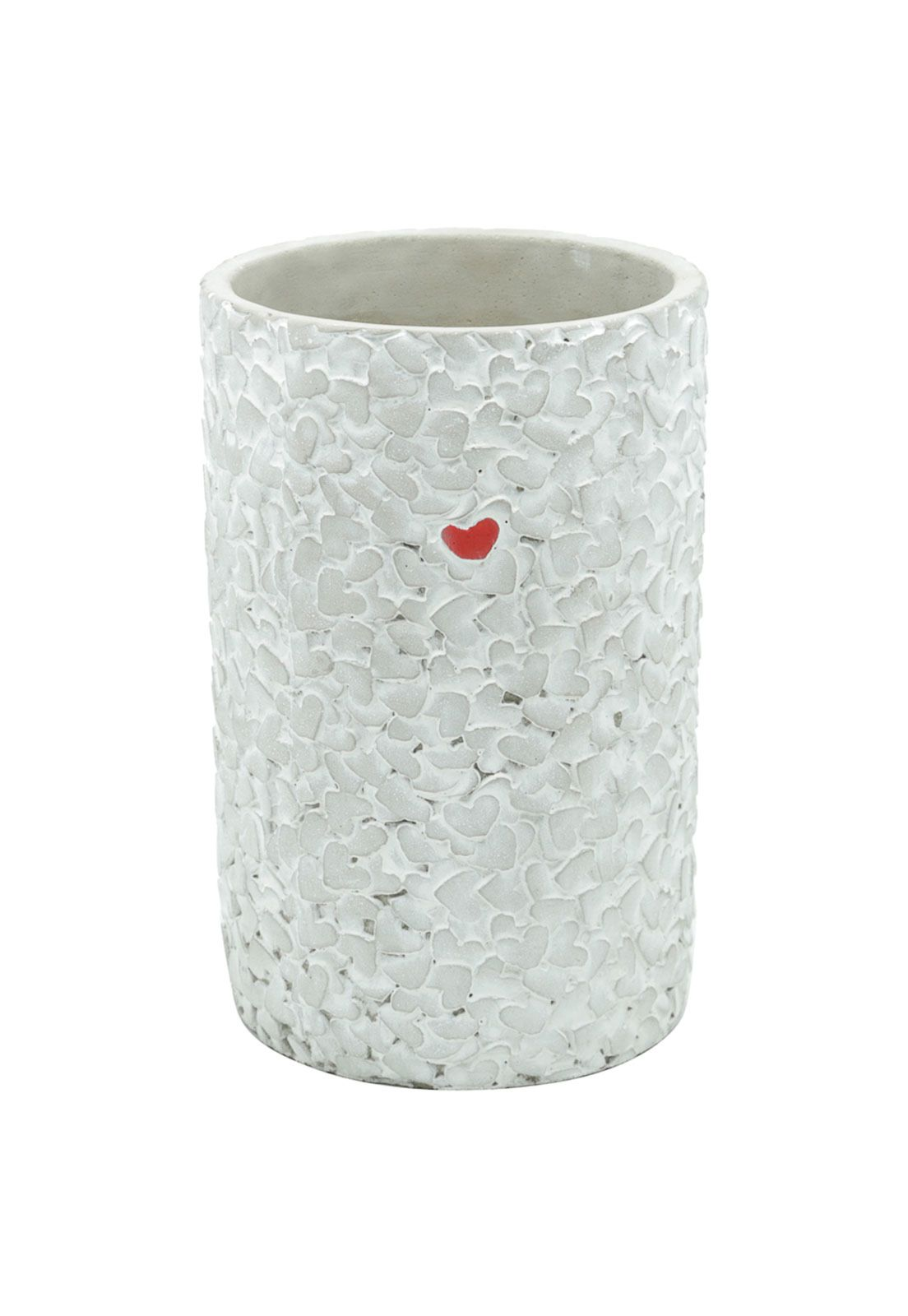 VASO CONCRETO LONG EMBOSSED LITTLE HEART CINZA 14X14X21,5cm